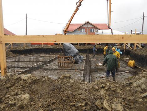 The concrete is poured